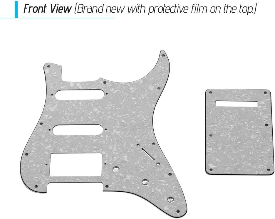 Muslady Set di battipenna per chitarra SSH con viti per piastra posteriore PVC Pick Guard per chitarra elettrica americana ST Perla nera