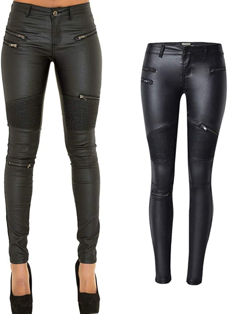 PU Leather Denim Pants for Women Sexy Stretchy Rider Leggings