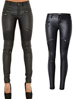 a5a8d7ee6b0f49 PU Leather Denim Pants for Women Sexy Tight Stretchy Rider Leggings Black  Coffee