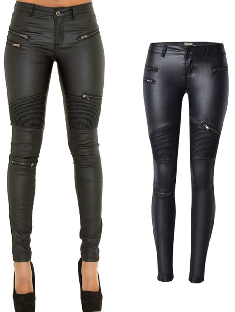 PU Leather Pants for Women Sexy Tight Stretchy Rider Leggings Black Faux Leather Pants for Women Pleather Pants Leggings with Zipper US 12 by lexiart