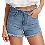 Pervobs Women Shorts Big Promotion! Women Blue Denim Jeans Summer Solid Casual Zipper Fly Hole Button Mini Hot Shorts (L, Blue)
