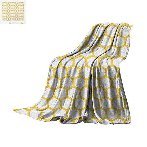 (Yellow and White Warm Microfiber All Season Blanket Hexagonal Pattern Honeycomb Beehive Simplistic Geometrical Monochrome Summer Quilt Comforter 50