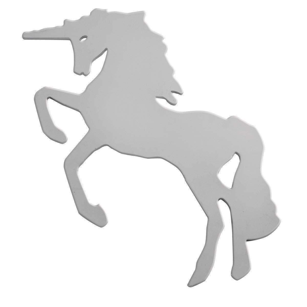 R//H GG Grand General 94045 Medium 6 X 8.5 Inches Chrome Unicorn w//Tape On Back