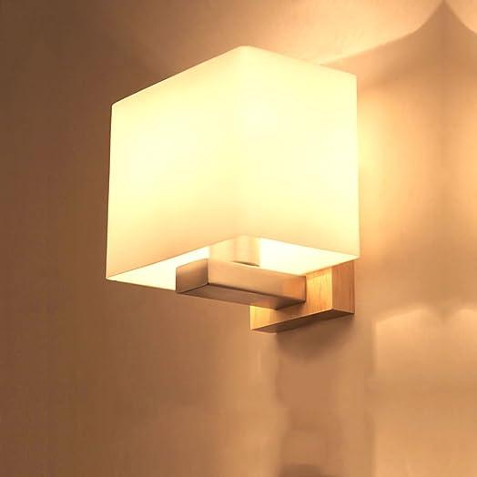 Modern Bedroom Bedside Lamp Wooden Glass Interior Lantern Decorated Living Room Corridor Children's Room E27