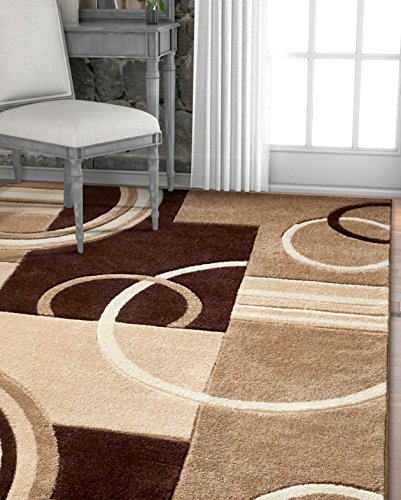 Echo Shapes & Circles Ivory / Beige Brown Modern Geometric Comfy Casual Hand Carved Area Rug 5x7 ( 5'3