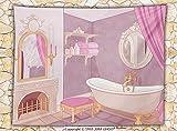 Teen Girls Decor Fleece Throw Blanket Fancy Bathroom in The Palace of the Princess with Bathtub Cabinet Mirror Throw Pink Beige