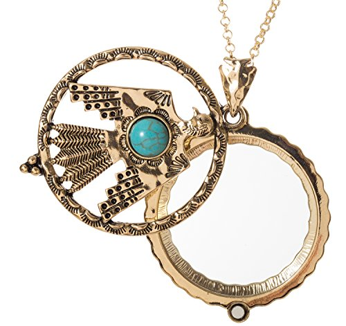 Thunderbird Turquoise Stone 4x Magnifier Magnifying Glass Sliding Top Magnet Pendant Necklace, 30