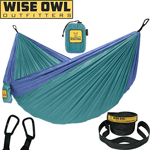 Wise Owl Outfitters Hammock Camping Double & Single with Tree Straps – USA Based Hammocks Brand Gear, Indoor Outdoor Backpacking Survival & Travel, Portable DO Gn/Blu