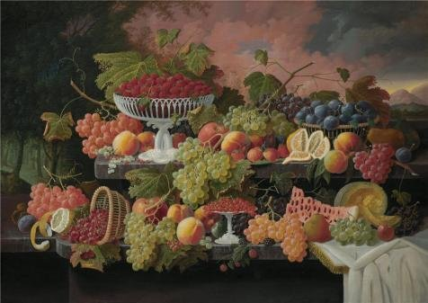 Oil Painting 'Severin Roesen,Two-Tiered Still Life With Fruit And Sunset Landscape,ca.1867' Printing On Perfect Effect Canvas , 24x34 Inch / 61x86 Cm ,the Best Foyer Artwork And Home Decoration And Gifts Is This High Quality Art Decorative Prints On Canvas