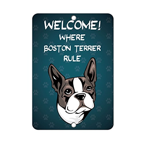 Welcome where BOSTON TERRIER DOG Rule LABEL DECAL STICKER Sticks to Any Surface - 8 In x 12 In