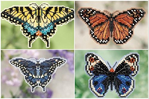 (4 piece Bundle, Beaded Butterfly Counted Glass Bead Kits: Yellow Swallowtail, Monarch, Black Swallowtail & Blue Pansy)