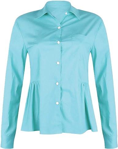 NOBRAND - Camisa suelta de manga larga para mujer Azul azul ...