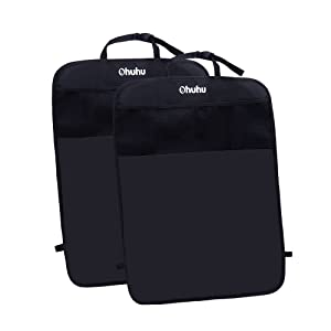 Ohuhu Kick Mats Back Seat Protector with Storage Organizer Pocket, 2 Pack, One Size Fits Most Car, SUV, Truck, or Van