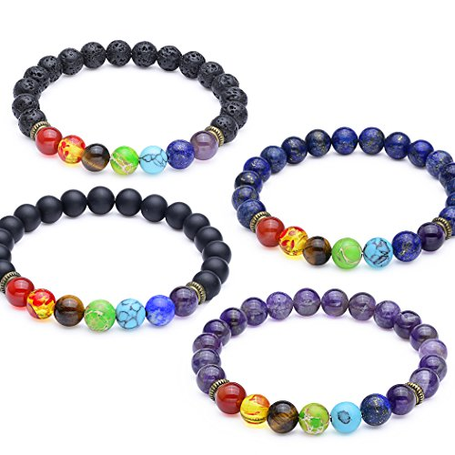 8mm Seven Chakra Bead Bracelets - Elastic Natural Gemstone Healing Yoga Bracelet, Set of 4
