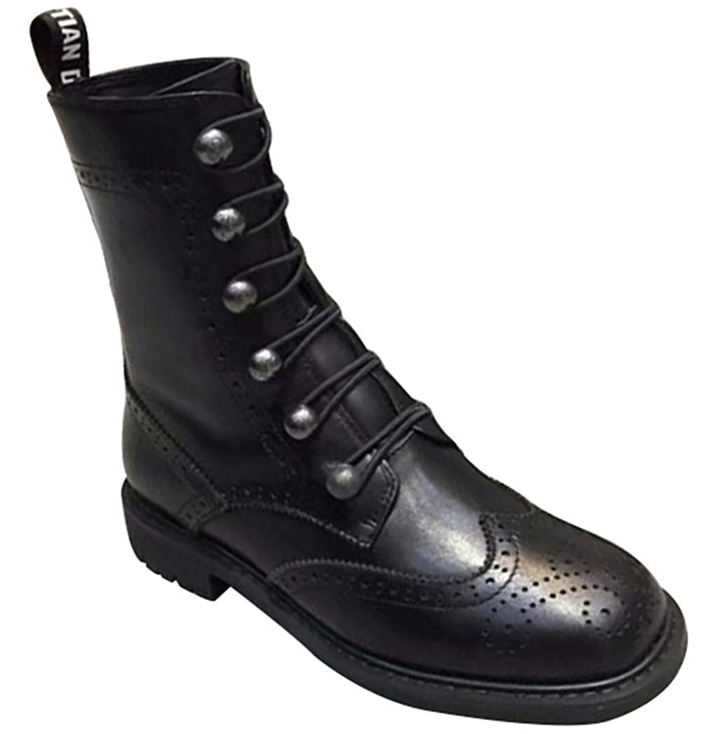 MYXUA Woherren Military Ankle Schnürschuh Schnalle Combat Stiefel Leder Fashion Stiefel
