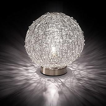 MIA Light Draht Kugel Tisch Leuchte ↥180mm/Modern/Silber/Alu/Nacht ...