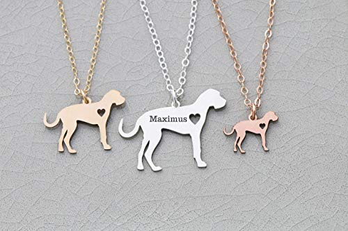- Great Dane Dog Necklace - IBD - Natural Ears - Personalize with Name or Date - Choose Chain Length - Pendant Size Options - 935 Sterling Silver 14K Rose Gold Filled Charm - Ships in 1 Business Day