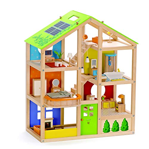 All Seasons Kids Wooden Dollhouse by Hape | Award Winning 3 Story Dolls House...