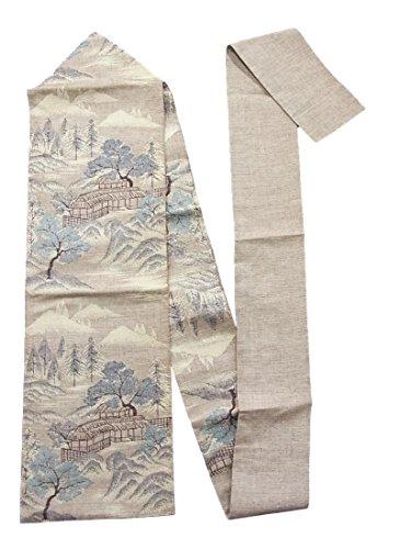 本当のことを言うと拒絶後方リサイクル 八寸 名古屋帯  紬 風景文 正絹