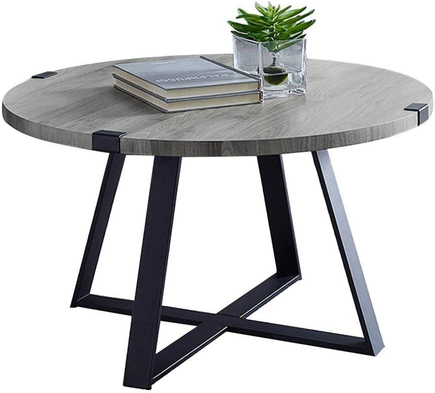 Njyt End Tables Round Coffee Table Wood And Metal Rustic