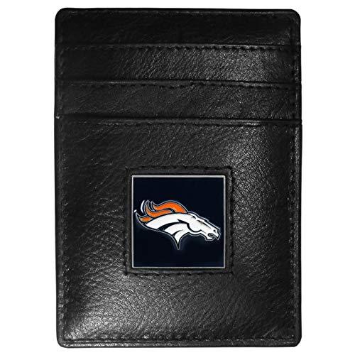 - Siskiyou NFL Denver Broncos Leather Money Clip/Cardholder Packaged in Gift Box, Black