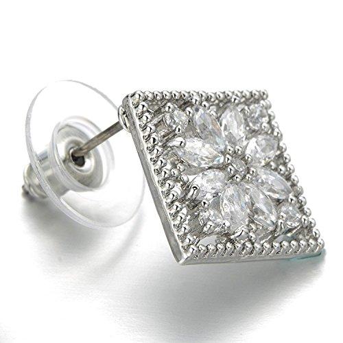 Classique Carré Fleur Boucles d'oreilles avec Zircone Cubique pour les Femme - Clous d'oreille