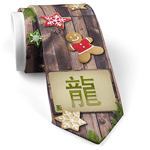 His Christmas NeckTie Dragon Chinese characters, green letter cookie wood print ()