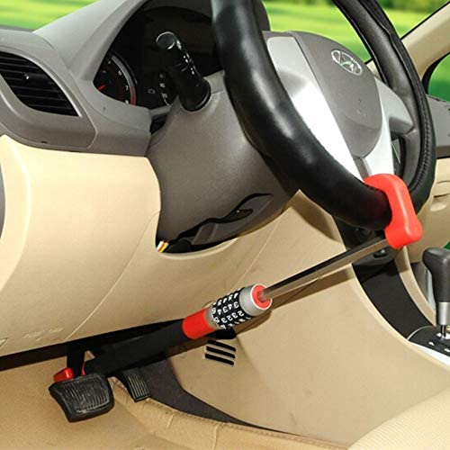 Car code lock,Car Anti-Theft Device Brake Pedal/Steering Wheel Lock locking bar anti theft protection steering wheel clutch lockAdjustable Length Lock