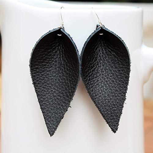 Genuine Leather & Sterling Silver Leaf Earrings // Black Leather // Joanna Gaines Inspired