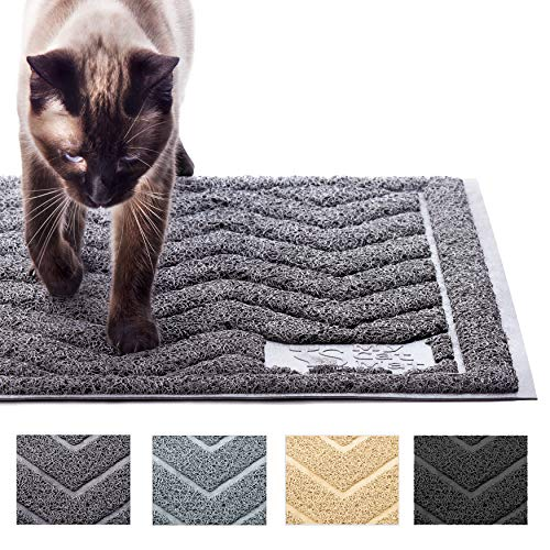 My Cat Mat Cat Litter Mat Traps and Controls Kitty Litter Scatter Large XL Size for Tracking and Trapping Scat from Litter Box, Best Easy Clean Catching and Trapper Rug, Soft on Paws - Grey (Best Cat Litter That Won T Stick To Paws)