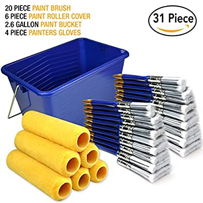 Great Value 31 Piece,paint roller covers 9 inch,paint roller,paint brush,paint brushes,paint bucket