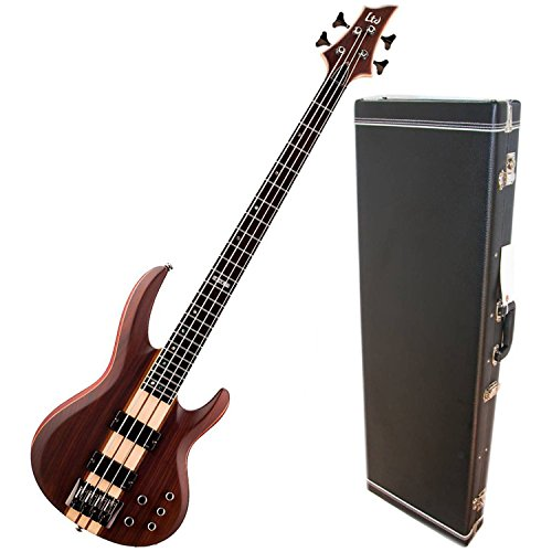 Bass Guitar Natural Satin (ESP LTD B-4 Ebony Natural Satin Electric Bass w/ Hardshell Case)