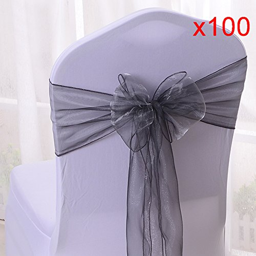 10/20/50/100pcs Organza Chair Sashes Bows Ribbons Covers for Wedding Supplies Events Party Reception Banquet Decoration Elegant 10 Colors(100PCS, Silver)