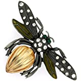 Marcasite & Amber Insect Bug Bee Brooch