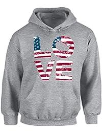 Unisex Love American Flag Hoodie Hooded Sweatshirt USA Flag Stars and Stripes Patriotic Gift