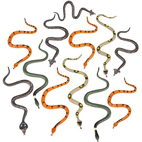Kicko 6 Inch Assorted Small Hissing Snakes - 24 Pieces, Practical Joke, Venue Prop, Party Supply, Ideas, Magic Show, Carnival Game Prizes, Squirrel Bird Deterrent, Halloween Apparel, Bath Time Companion (Bath Squirrel Woodland Bird)