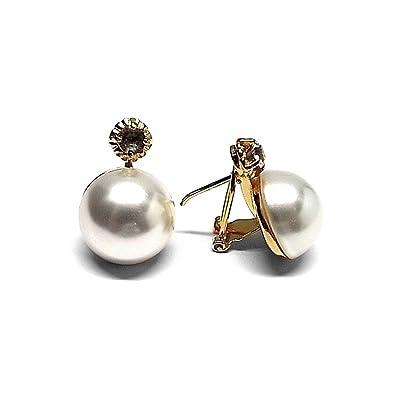 c4a010e87d1c Pendientes plata Ley 925m chapado oro perla japonesa 18mm.  AB1178    Amazon.es  Joyería