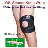 C&A Support, 3D Breathable Elastic knitted Patented OK Spacer Fabric 6.5 inch Width Knee Brace,Black,One Size Fit Most,One PCS