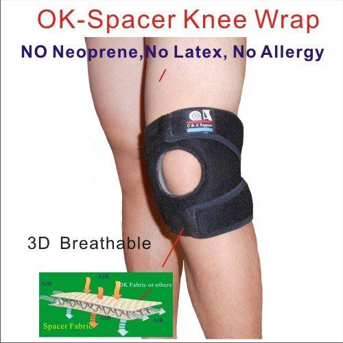 C&A Support, 3D Breathable Elastic knitted Patented OK Spacer Fabric 6.5 inch Width Knee Brace,Black,One Size Fit Most,One PCS by C&A Support