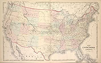 Amazon.com: Historic 1876 Map | Map of the United States and ...