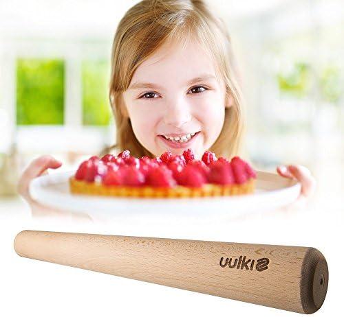Uulki® Grand Rouleau à Pâtisserie Écologique en Bois 45 cm – Écologique en Hêtre Non Traité Artisanat traditionnel d'Europe (45 cm)