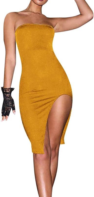 Auifor Top de Tubo de Mujer Falda Larga Vestido Dividido Color ...