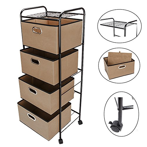 Bonnlo 4-Drawers Rolling Cart,4 Shelves Organization Cart with 4 Nonwoven Collapsible Drawers and 4 Rolling Wheels (2 with brakes) for Clothes, Books, Tools and Papers (BROWN)