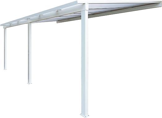 Pérgola de aluminio clásica adosada con techo de policarbonato de 16 mm y canalón – color blanco, color Blanc ral 9016, tamaño 6000 x 3000 mm: Amazon.es: Jardín