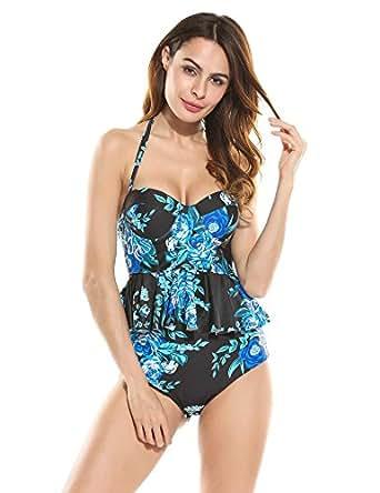 Ekouaer Womens 2 Piece Push Up Vintage Floral Peplum High Waist Bikini Swimsuit (Blue Black, S)