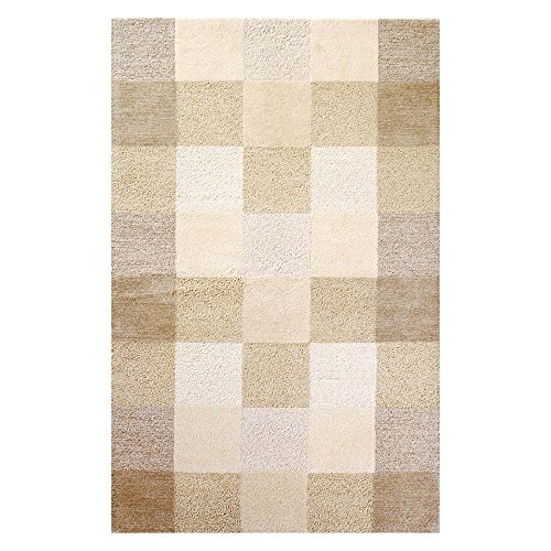 Kas Rugs 1054 Eternity Checkerboard Area Rug, 5 by 8-Feet, Ivory
