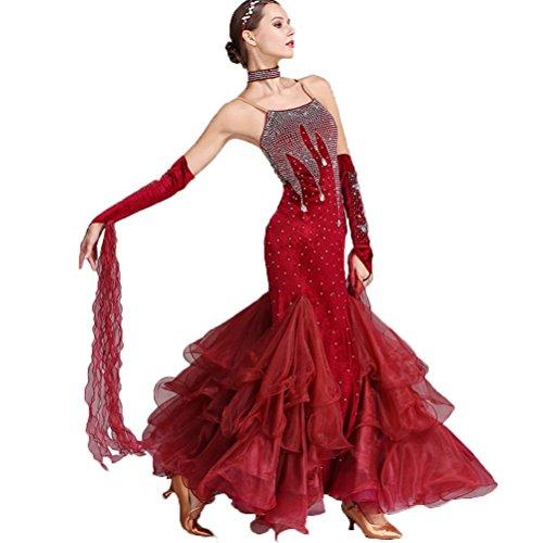 - YuLin Ballroom Dance Dresses Women Performance Competition Sleeveless Waltz Costume Burgundy