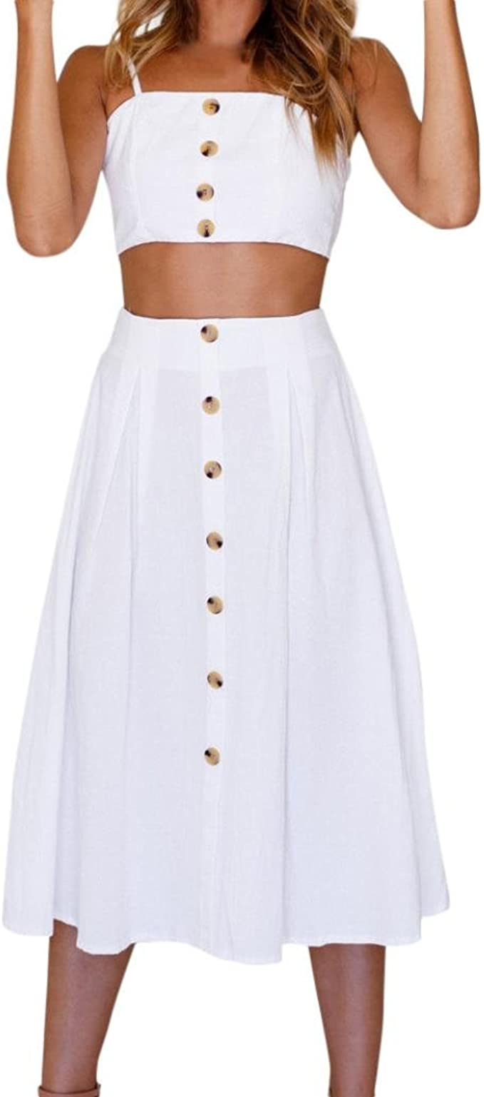 Ansenesna Kleid Zweiteiler Damen Sommer A Linie 12/12 Lang Elegant Röcke und  Kurz Träger Rückenfrei Tops Strandkleid