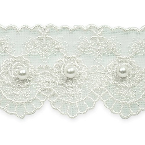 1 5/8in Vintage Roses with Pearl Lace Trim (Pearls And Lace Bridal)