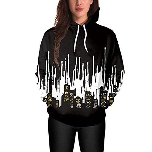 Halloween Hoodies Sweatshirt,ZYooh Women Long Sleeve 3D Graphic Printed Hooded Sweatshirt Pullover (XL, City)]()